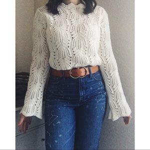 Worthington Cotton Scallop Crochet Knit Pullover